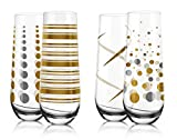 LIVIVO Set of 4 Stemless Champagne Prosecco Flute Glasses with Pattern Decal - Stylish and Elegant Effect Wine Glass Gift Set in Box – Friends Family Party Wedding Birthday Xmas Gift