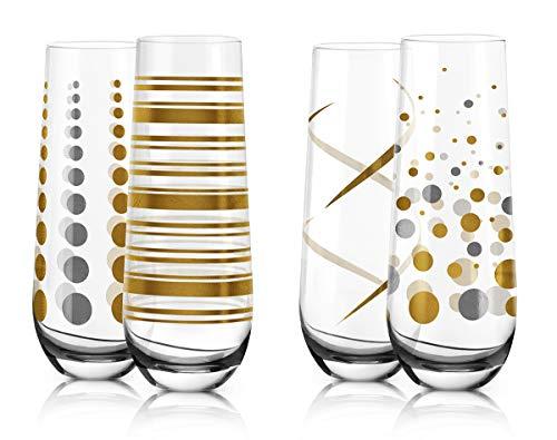 LIVIVO Juego de 4 Copas de champán sin Tallo con diseño de Flauta de Prosecco con Adhesivo Efecto de Copas de...