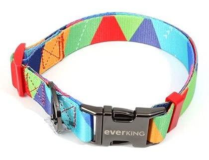 Collar para perro ajustable moderno multicolor para perros grandes, medianos y pequeños, transpirable, accesorios de nailon (4001-4)