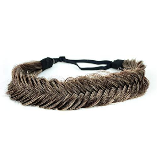 BOBIYA breites Fischschwanz-Haarband aus Kunsthaar, geflochten, klassisch, grob, elastisches Stretch-Haarteil, für Damen und Mädchen (Aschbraun)