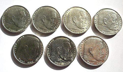 Münzen Lot 7 x 3.Reich 2 Reichsmark / Mark Silber Hindenburg 1938 A B D E F G J ss+/vz Jäger 366