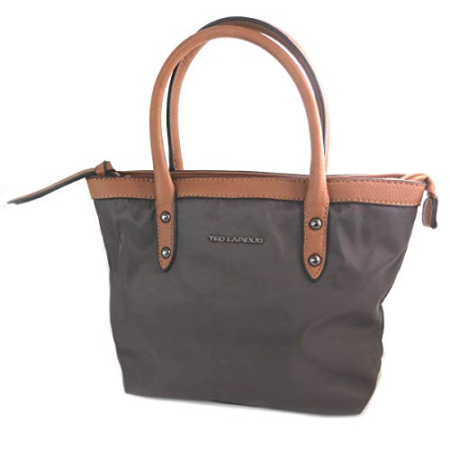 Ted Lapidus [Q2208 - Bolsa de diseño marrón - 23x20x7 cm.