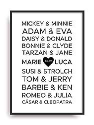 Kunstdruck Fine Art BLACK LOVE berühmte Paare Geschenk moderne Vintage Poster Print Plakat Deko Bild ohne Rahmen DIN A4 personalisiert