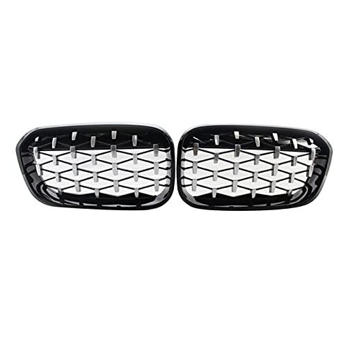 XIAOJIE Piezas exteriores parrilla delantera para riñón, parrilla delantera de diamante de rejilla de meteoros para BMW Serie 1 F20 F21 LCI 2015-17 51137371685 51137371686 coche (color: plata y negro)