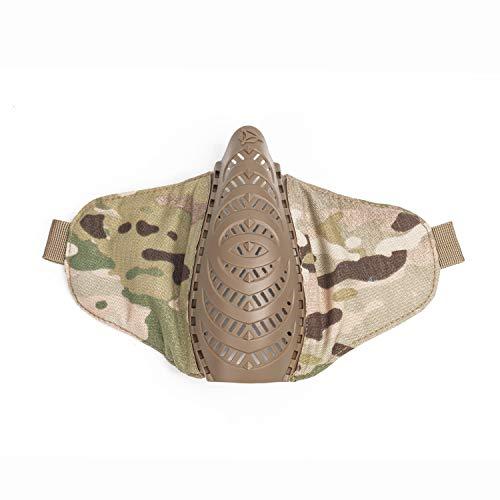OneTigris X Division SIX T'Farge® Airsoft Faltbare halbe Maske Mesh Gesichtsmaske |MEHRWEG Verpackung (Multicam)