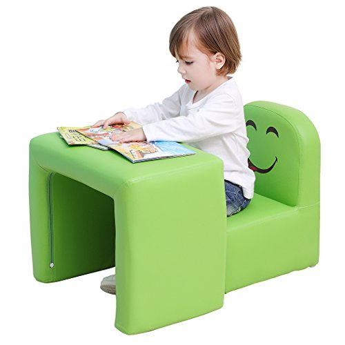 Multifunctional Children's Armchair, Emall Life Kids Chair and Table Set/Stool with Funny Smile Face for Boys and Girls (Green)
