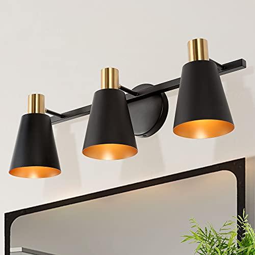 Bathroom Light Fixtures, 3-Light Gold Vanity Light, Farmhouse Black Bathroom Lighting with Electroplated Brass Socket, L 22
