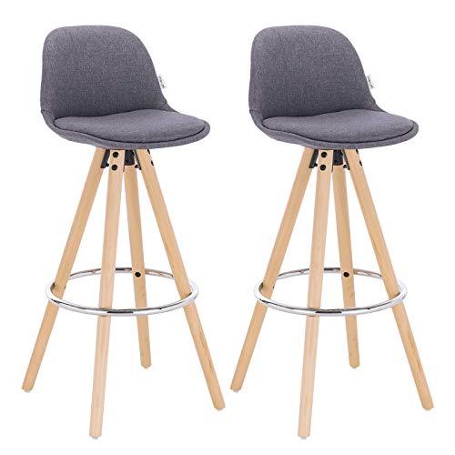 WOLTU® BH45dgr-2 2 x Barhocker 2er Set Barstuhl aus Leinen Holzgestell mit Lehne + Fußstütze Design Stuhl Küchenstuhl optimal Komfort Dunkelgrau