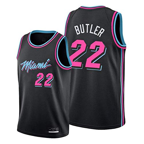 Wo nice Jerseys De Baloncesto De Los Hombres, Miami Heat # 22 Jimmy Butler Uniformes De Fan De La NBA Verano Suelto Tops Casuales Sin Mangas Camiseta Sin Mangas Chalecos,Negro,S(165~170CM)