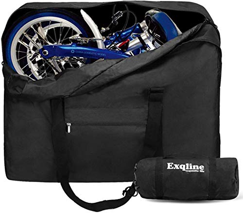 """Exqline Fahrrad Transporttasche Klapprad Tragetasche 1680D Oxford Faltrad Transporttasche Fahrrad Reisetaschen Abwahrungstasche für 14\""""-20\"""" Faltrad (Größe: 82 x 32 x 67cm)"""