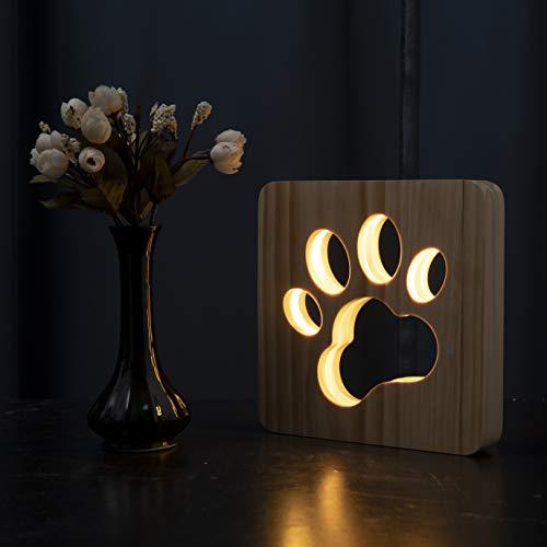 Hyindoor Lampara Nocturna con Huella Perro en Madera Lampara Creativa de Mesita de Noche para Dormitorio 3D Luz LED con USB en Forma de Perro Pata Regalo Navidad Año Nuevo para Niñios