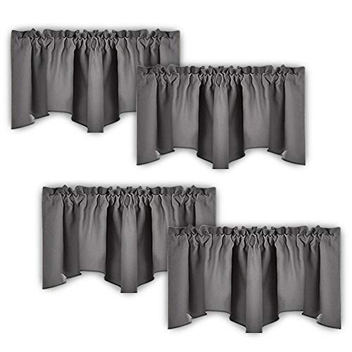 NICETOWN Scalloped Window Valances for Kitchen - Home Decoration Thermal Insulated 52 inches by 18 inches Rod Pocket Blackout Grey Valance Window Treatment/Curtains/Drapes/Draperies, 4 Panels
