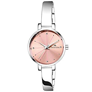 SWISSTONE Analogue Women's Watch (Pink Dial SIlver Colored Strap)
