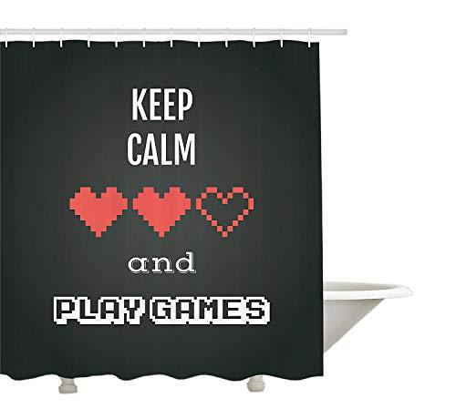 Yeuss Gamer Duschvorhang von Motivational Keep Calm Quote mit Videospielmotiv Ombre Hintergr&, Stoff-Badezimmer-Dekorset mit Haken, Anthrazit-Weiß