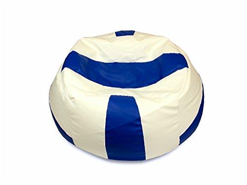 kissenwelt.de Sitzsack Volleyball M (Ø 90cm) - Kunstleder - Blau/Weiss - Made in Germany