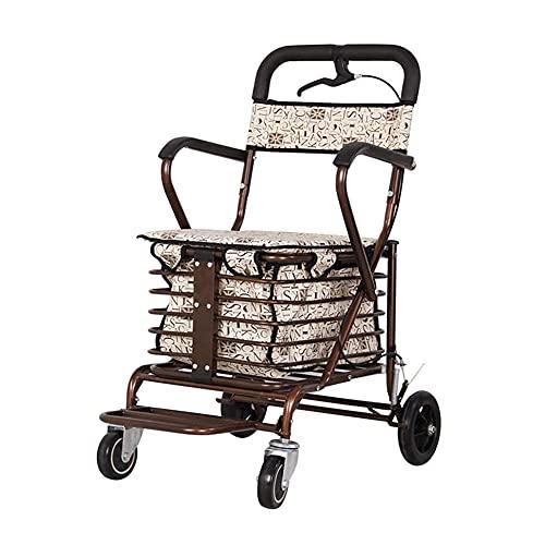 Carrito de la Compra del Viejo Marco de Caminata, Ligeramente Plegable, Carrito con Frenos, Asistencia de Viaje, con Asiento y Pedal (Color : Brown)
