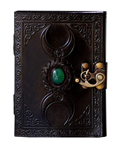 Leather Journal Handmade Celtic Black Triple Moon with Green Stone Embossed Vintage Daily Notepad Unlined Paper 7 x 5 Inches, Sketchbook & Writing Notebook