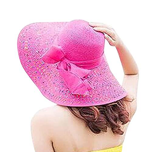 UKKD Sombrero de Paja Verano Hembra Sol Sombreros Mujeres Colorido Gran ala Paja Arco Sombrero Sol Disquete Ancho Sombreros De La Playa Gorra De La Playa con Sombrero Protegido De Las Mujeres