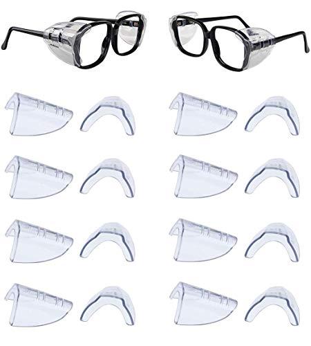 DEDC 8 Pares Protectores Laterales de Seguridad para Gafas Alas de Protección de Gafas Transparente Se Adapta a Menos de 12 mm de Ancho de Templo