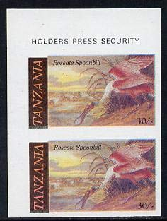 Tanzania 1986 John Audubon Birds 30s (Roseate Spoonbill) in u/m imperf pair (as SG 467)* AUDUBON BIRDS JandRStamps