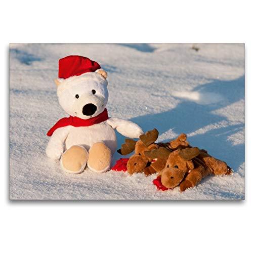 Premium Textil-Leinwand 120 x 80 cm Quer-Format Frohe Weihnachten - Teddy mit Elch im Schnee.   Wandbild, HD-Bild auf Keilrahmen, Fertigbild auf hochwertigem Vlies, Leinwanddruck von Meike Bölts