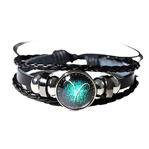 Chahu Pulsera luminosa con 12 signos del zodiaco en aleación y cuero, pulsera única para todo tipo de personas