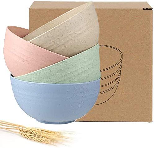 Rendcqin Ecologico Ciotole per Cereali, Set da 4 Pezzi Ciotola per Cereali, Dessert, Snack, Lavabile in lavastoviglie e Adatta al microonde per Cereali (24 oz)