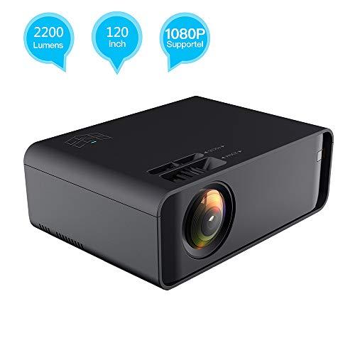 EJOYDUTY Beamer, 2019 verbeterde 2200 lumen full-HD-home theater projector, 50.000 uur LED-levensduur, ondersteunt 1080P, HDMI, TV, SD, AV, VGA
