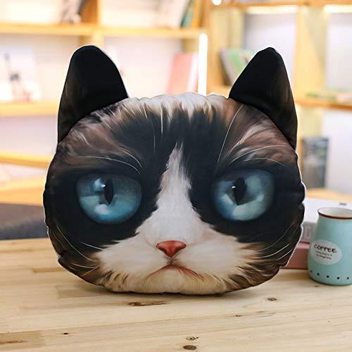 N / A 1Pcs 35cm de Dibujos Animados 3D Cabeza de Gato Almohada de Peluche de Felpa, Lindo cojín Animal, Juguetes para niños, decoración del sofá para el hogar, 36CM