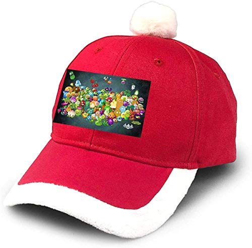 GGdjst Weihnachtsmützen, Plants Vs Zombies Christmas Hats Red Santa Baseball Cap for Kids Adult Families Celebrate New Year Party