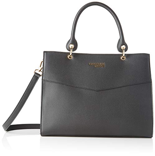 Trussardi Jeans Charlotte Top Handle MD Tumble, Borsa a Mano Donna, Nero (Black), 25.5x14x33 cm (W x H x L)