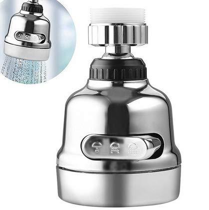 Cabezal de grifo de cocina móvil – Difusor giratorio 360 – 3 modos de posición ajustable grifo filtro de agua de lujo interno boquilla adaptador de filtro de ahorro de agua Conector Bubbler