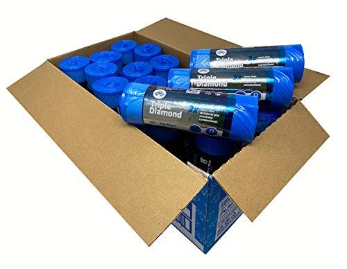 Bolsas de basura de color azul extra fuertes de 50 litros capacidad. Perfumadas, con autocierre, antigoteo y extra resistentes 70x75 cm. Caja 18 rollos de 10 uds rollo