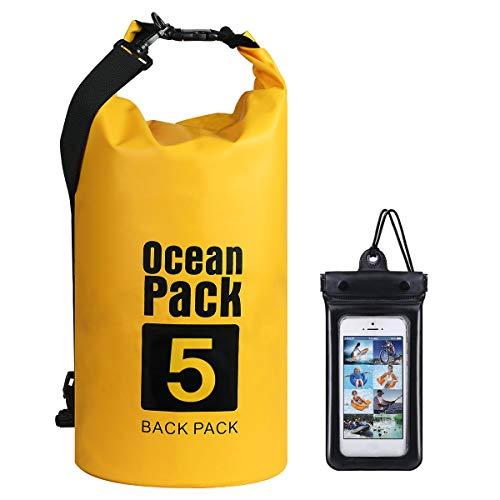 flintronic Dry Bag, 5L Wasserdicht Taschen mit Schnalle, (Gelb) wasserdichte Packsäcke Verstellbaren Schultergurten für Boot, Kajak, Angeln, Rafting, Schwimmen, Strand (inkl 1*Handytasche)