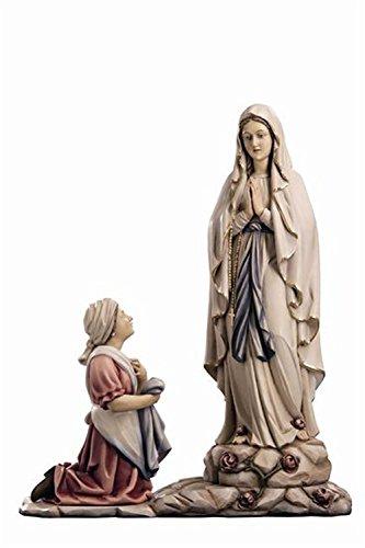 Holzfigur Madonna von Lourdes mit Bernadette coloriert - Dolfi