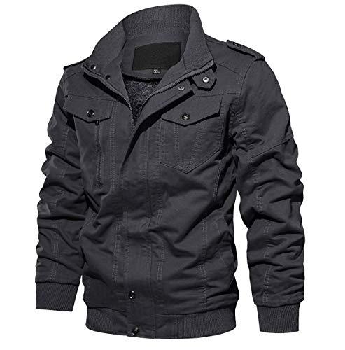 Men Jackets Casual Fall Jacket Winter Jacket Mens Jackets Outerwear Cargo Jacket Gray