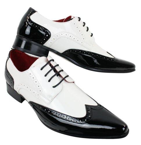 rossellinni Herrenschuhe Glänzend Weiß Schwarz Vintage Retro Stil Brogue Schnürsenkel Schuhe