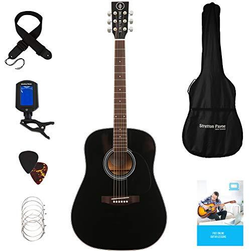 Stretton Payne Dreadnought Guitarra Acústica de Cuerdas de Acero Tamaño Completo Paquete D1 Negro