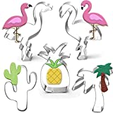 Hawaiian Cookie Cutter Set-5 Piece-Cactus, Pineapple, Flamingo, Palm Tree Cookie Cutters Cookie Molds Summer Tropical Beach Party Supplies Decoratons Handmade Cookie.