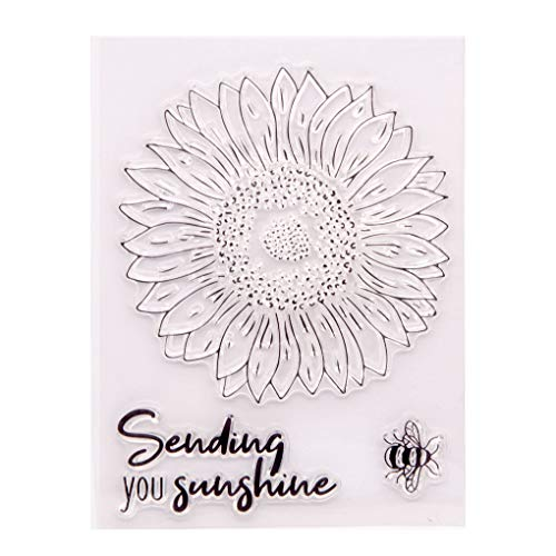 KWELLAM Sunflower Bee Sending you Sunshine Clear Stamps for Card Making Decoration and DIY Scrapbooking 20120803