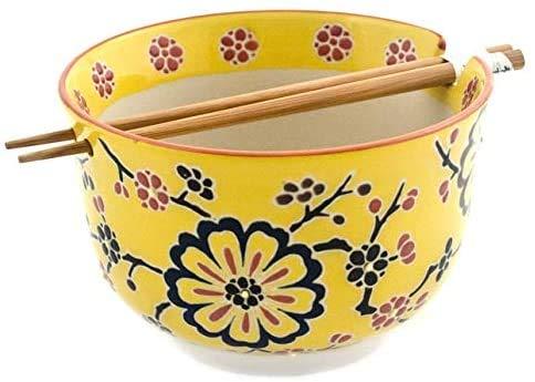 Happy Sales, Multi Purpose 6.25'D Large Ramen Udon Soba Pho Noodle Donburi Rice Tayo Bowl with Chopsticks (YellowBlossom)