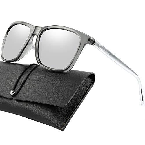 WHCREAT Unisex Retro Polarisierte Sonnenbrille Vintage Mode Design Fahren Ultraleicht Spiegel Linse für Herren und Damen - Silberne Arme Silberne Linse