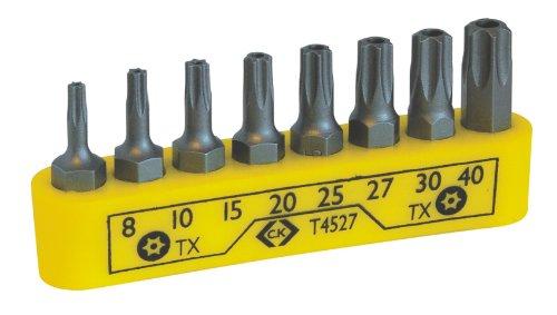 C.K T4527 Schraubendreher Bit Satz für Sicherheits-Torx Schrauben, 8-teilig, Gelb, 8 Stück