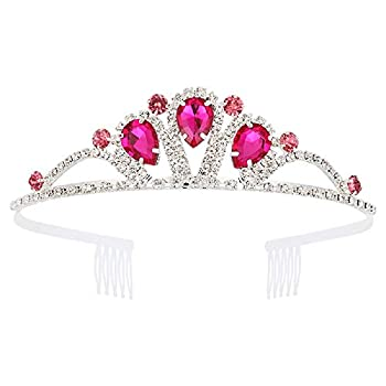 Tiaras and Crowns for Women with Combs Princess Crystal Tiara Elegant Crown Girls Bridal Wedding Prom Birthday Party Pink