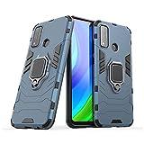 Funda Huawei P Smart 2020,AKABEILA Compatible para Huawei P Smart 2020 Carcasa Silicona PC Metálico Montaje Anillo Agarre Soporte Antichoque Caja Protector,Azul