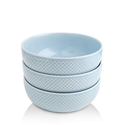 KOOV 58 OZ Porcelain Large Serving Bowl Set, Large Salad Bowls, Soup Bowl Microwave Safe, Ceramic Big Bowls for Pasta, Cereal and Kitchen, Embossed Series Set of 3 (Sky)