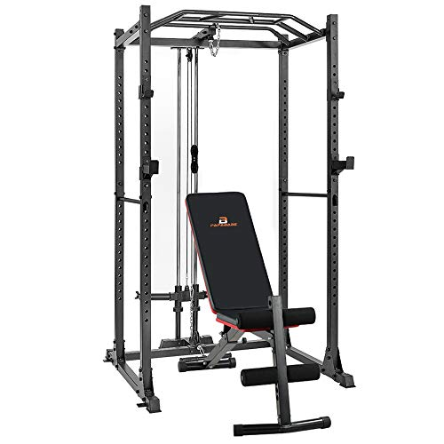 papababe Power Cage with Optional LAT Pulldown 1200-Pound Multi-Function Capacity Power Rack Home Gym Equipment