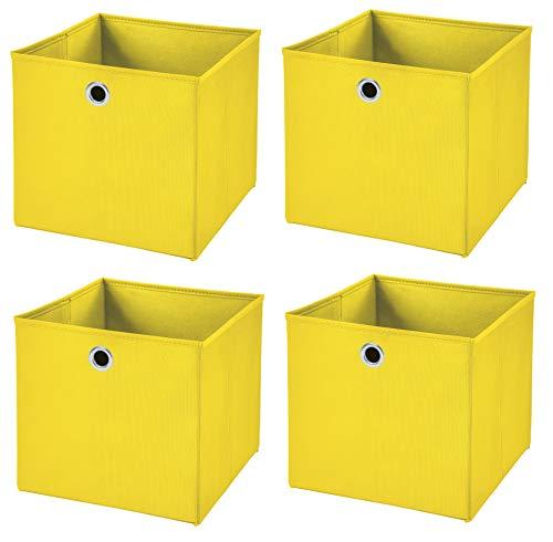 Stick&Shine 4X Aufbewahrungs Korb Gelb Faltbox 33 x 33 x 33 cm Regalkorb faltbar
