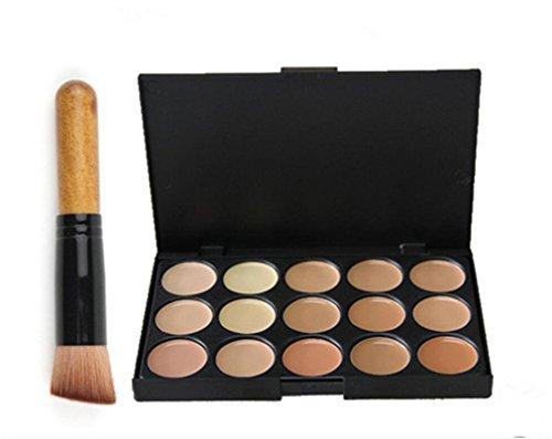 Pure Vie® 1 Pcs brochas de maquillaje + 15 Colores Corrector Camuflaje Paleta de Maquillaje Cosmética Crema - Perfecto para Sso Profesional y Diario