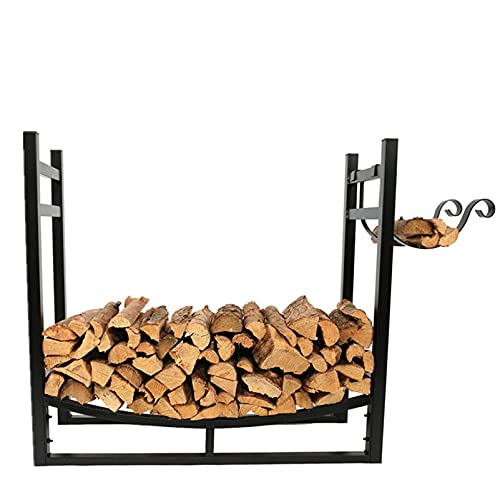 Fireplace Firewood Holder Storage with Kindling Rack Firewood Rack Indoor ,Heavy Fireside Wood Storage Rack,Patio Fireplace Wood Stacking Racks ,for fireplace firepit outdoor camp family room